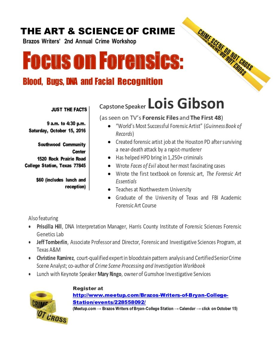Oct. 15 Crime Workshop Features Big Names | BRAZOS WRITERS